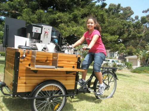 Icicle Tricycles Custom Cedar wood cargo box Espresso and Coffee Bike / Trike with custom shelf and a black frame.