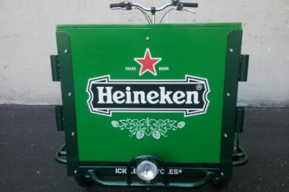 Icicle Tricycles Brewery Beer and Beverage Marketing Cargo Bike branded for Heineken parked in a ware house