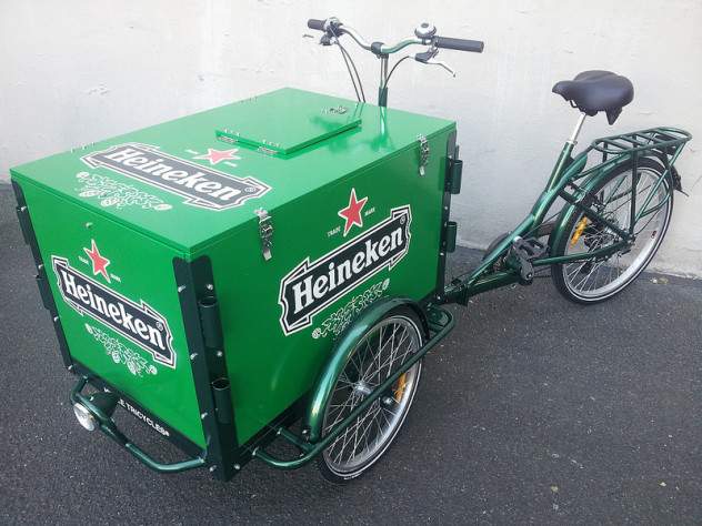 Icicle Tricycles Heineken Beer Bike - Brewery Beer and Beverage Bike for Experiential Marketing and Advertising Bike Fleets