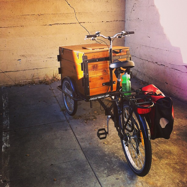 Icicle Tricycles Custom Hand Built Wood Box Vending Cargo Bikes