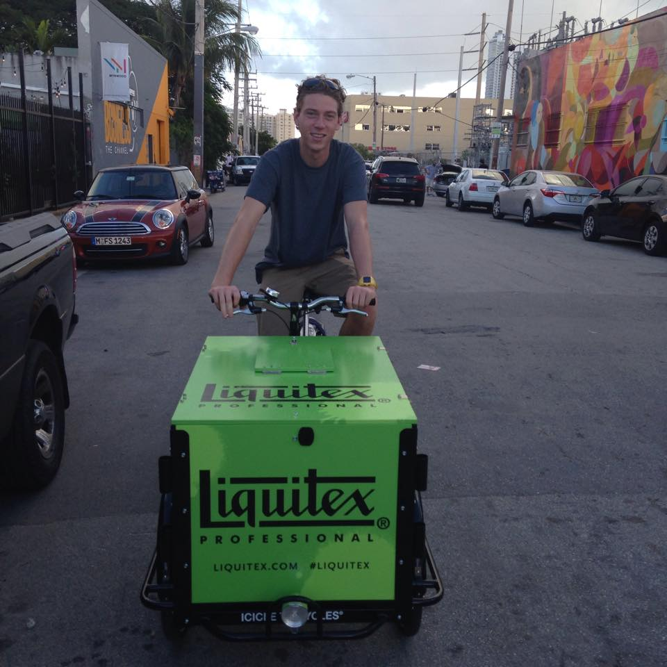 e-assist trike, bike, icicle tricycles, electric assist, pedal, vending, ice cream, beverages, coffee, food liquitex bike paint