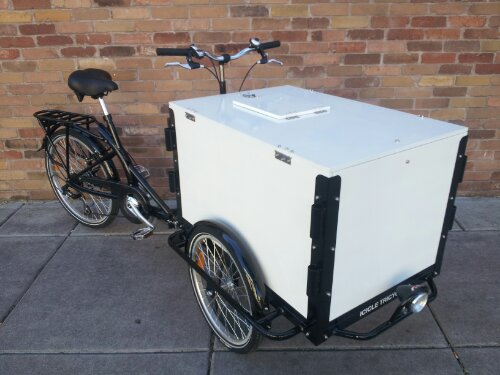 A black framed Icicle Tricycles Front load Ice Cream Bike - Used Ice Cream Bikes for sale - standard ice cream bicycle model