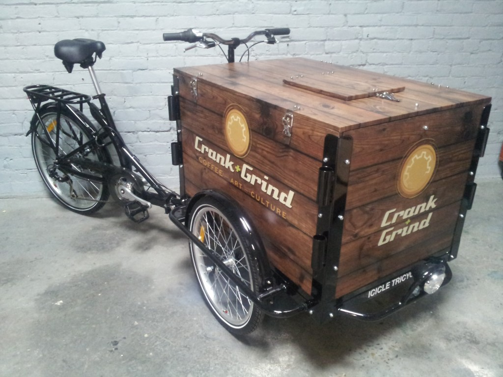 A branded coffee bike / trike