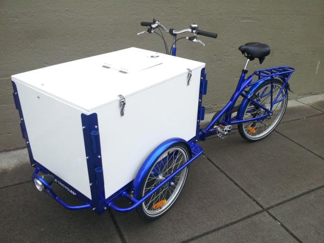 A Used Icicle Tricycles front load Ice Cream Bike / trike with a blue frame parked on the sidewalk