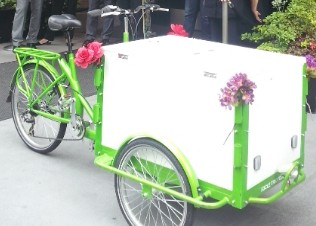 A lime green framed Icicle Tricycles Front load Ice Cream Trike / Bike standard ice cream bicycle model at an event