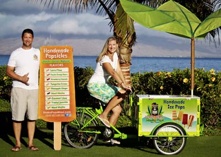 an Experiential Marketing Bike Icicle Tricycles Popsicle Bike in a tropical location.