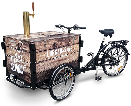 Faux wood vinyl wrapped Cold Brew Coffee bike