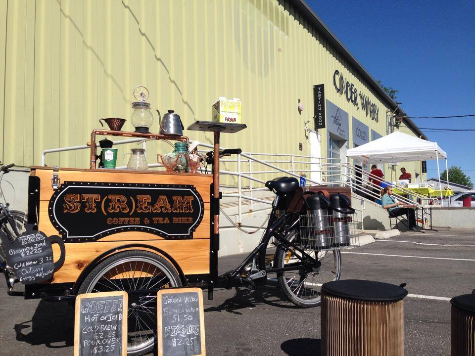 a branded coffee bike / trike popup