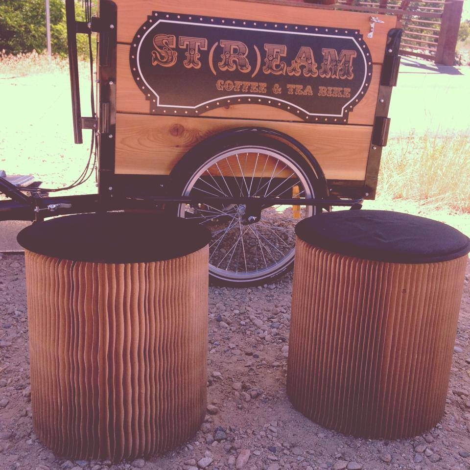 a cedar cargo box coffee bike / trike with custom out door seating