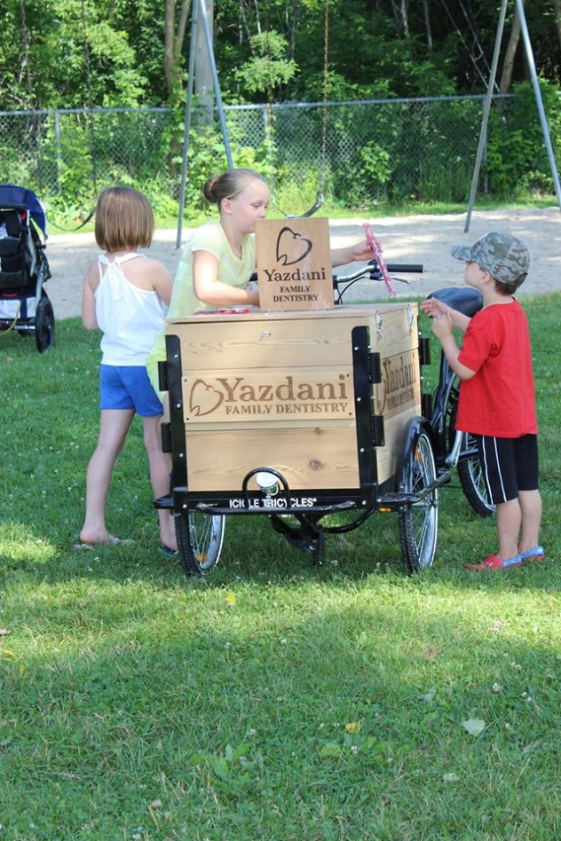Yadani family dentistry branded wood laser engraved cargo box Marketing ice cream bike / trike