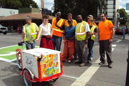 Historic Icicle Tricycles Ice Cream Bike Service - Serving hungry construction workers in Portland, Oregon.