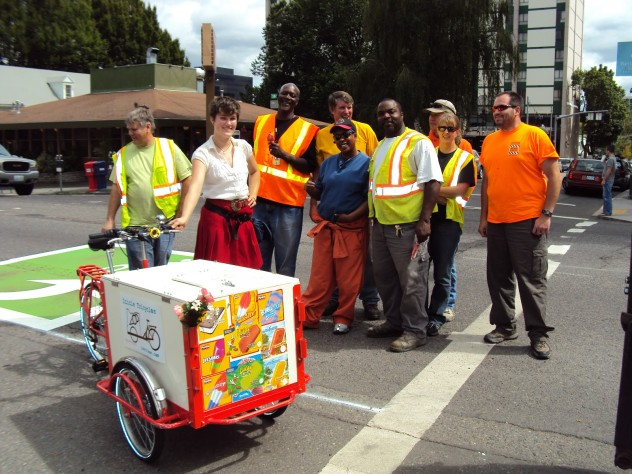 Historic Icicle Tricycles Ice Cream Bike Trike Service - Serving hungry construction workers in Portland, Oregon.