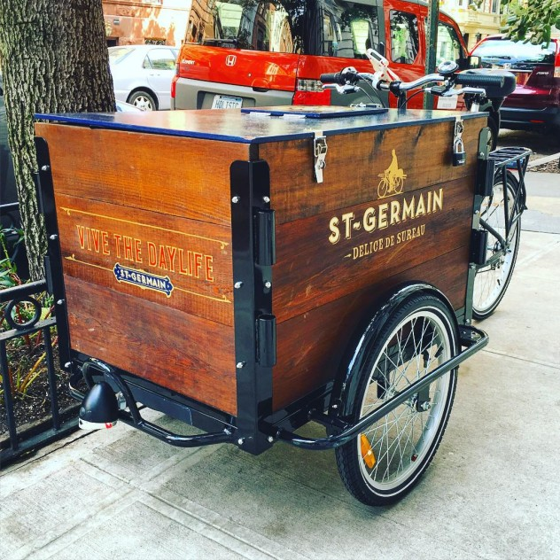 a st-germain branded stained cedar ice cream marketing beverage trike / bike