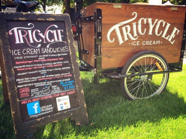 Icicle Tricycles Tricycle Ice Cream Sandwiches branded Ice Cream Bike / trike with a custom cedar cargo box