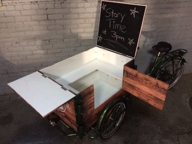 library book bike with chalk board and split lid