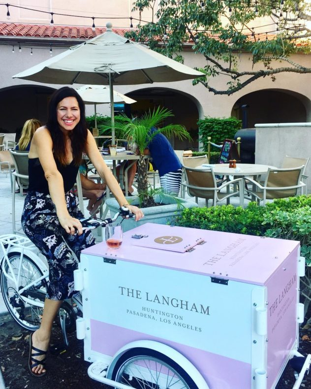 A hotel branded for the langhanm in Pasadena California Icicle Tricycles Ice Cream Bike