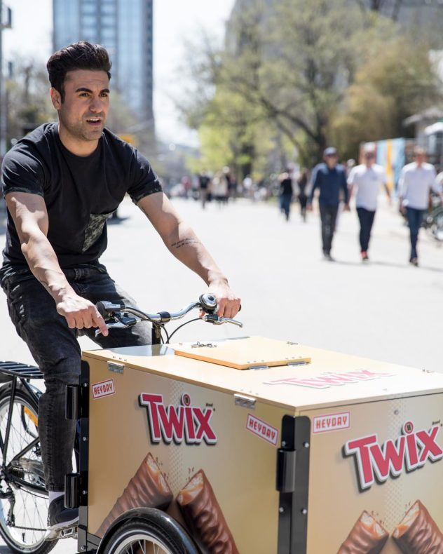 twix branded OOH outdoor advertising bike in Oakland California
