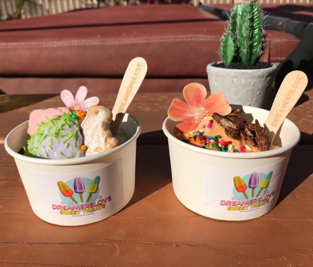 Two Dreamers Love Sweet Treats ice cream cups full of decorated gourmet homemade ice cream