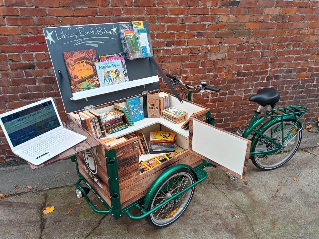 book bike, library bike, school trike, icicle tricycles, mobile reading cart on sale