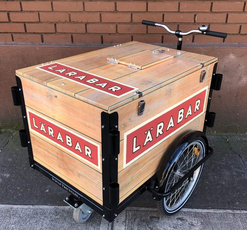 larabar cart, pushcart, push cart, icicle tricycles, food vending, mobile marketing bike