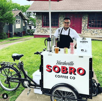 icicle tricycles ice cream bike, tall vending bike, cold brew coffee bike, 5 gallon keg marketing cart sobro coffee
