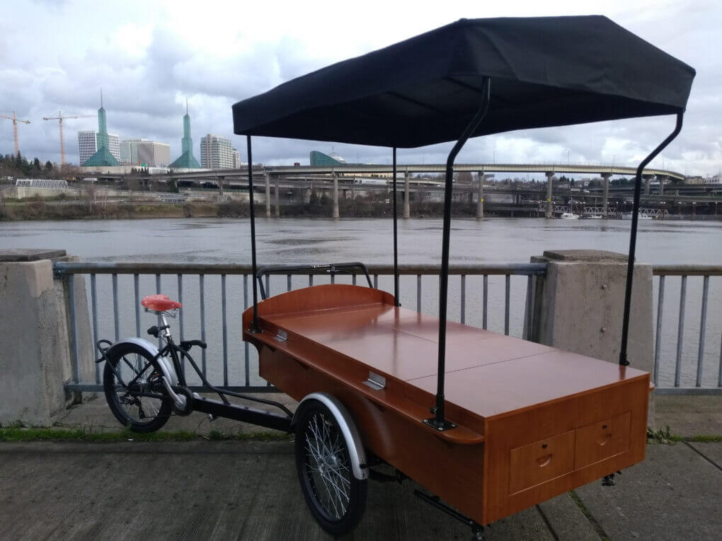 large icicle tricycles vending mobile bike, marketing, coffee trike, espresso, beverages, food, bike, with canopy