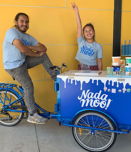 Button to buy ice cream vending bike